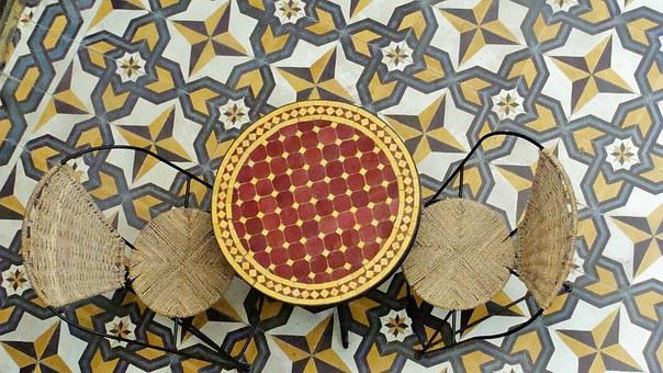 Table, Chair, Mosaic, Seat, Morocco
