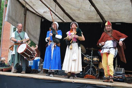 Medieval, Music, Band, Drum, Perform