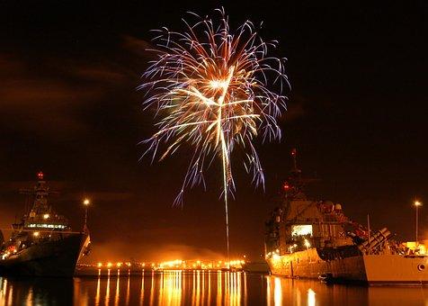 Pearl Harbor, Hawaii, Night, Evening, Fireworks