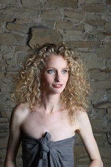 Femail, Portrait, Blond, Curls, Wall, Blue Eyes, Raw
