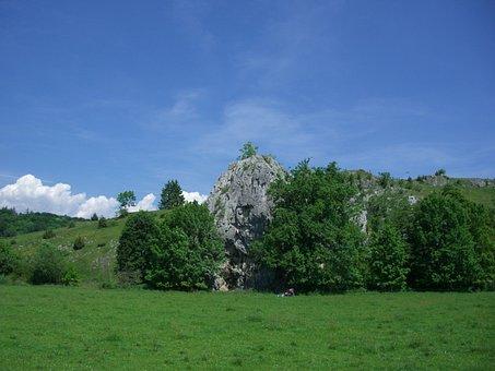 Rock Climbing, Rock Wall, Climb, Rock, Sky Blue