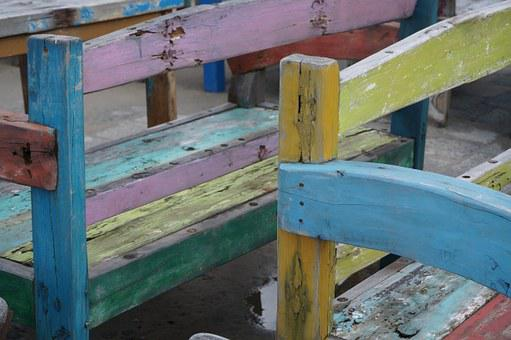 Chair, Paint, Rustic, Painted, Wood, Color