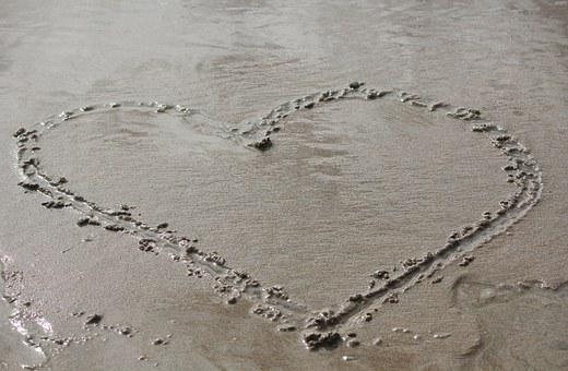 Heart, Sand Drawing, Love
