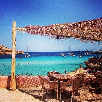 Sea, Beach, Ibiza, Restaurant, Chair, Straw