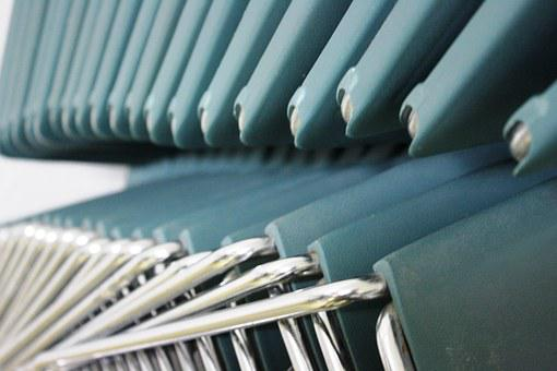 Chairs, Blue, Turquoise, Metal, Stack, Stacked