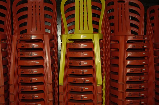 Chairs, Stack, Red, Yellow