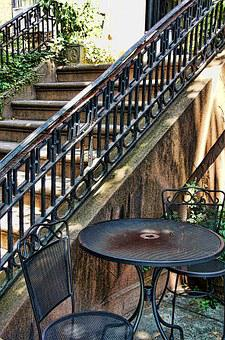 Stairs, Table, Chairs, Railing, New York, Brooklyn