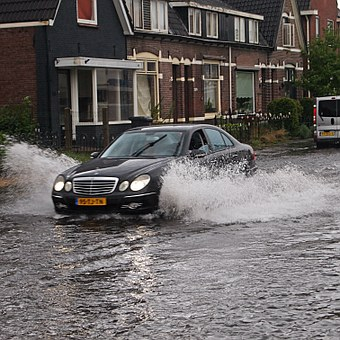 Flood, Car, Waves, Brakes, Water, Street, Drive, Lamps