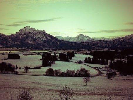 Sunrise, Mountains, Füssen, Tanella, Säuling, Landscape