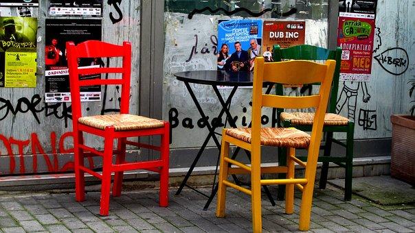 Chairs, Color, Greece, Thyseio, Monastiraki
