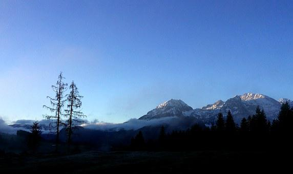 Sunrise, Sunset, Mountains, Trees, Blue, Black