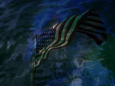 Flag Usa, Reflection, Water, Spirits, Pearl Habor