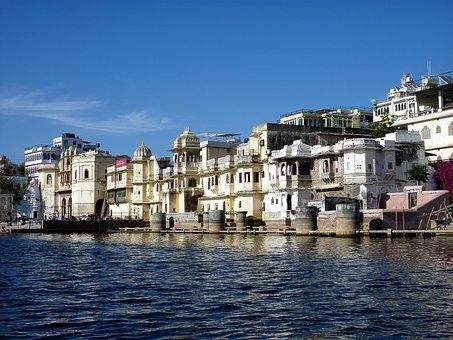 India, Radjastan, Udaipur, Lake, Water, City