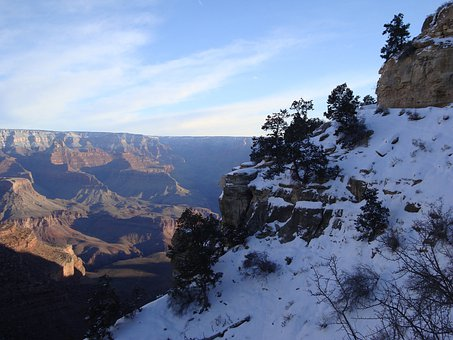 Grand Canyon, Nature, Outdoors, Snow, Sky, Winter