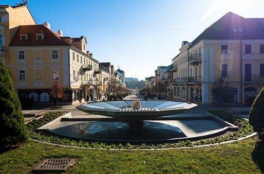 Lazne, Fountain, Back Light, Sunlight