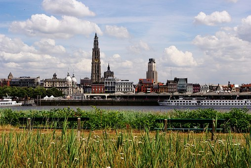 Antwerp, Belgium, Skyline, Benches, Grass, River