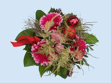 Bouquet Of Flowers, Red, Green, Floral, Advent