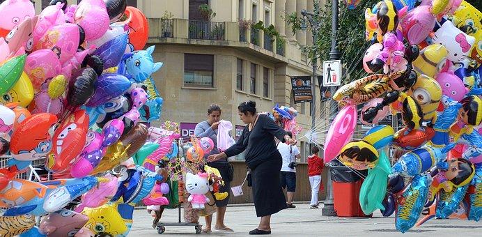 Balloon Lady, Balloons, Europe, Celebration, People
