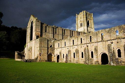 Fountains, Abbey, Yorkshire, Storm, Drama, Dark, Ruins