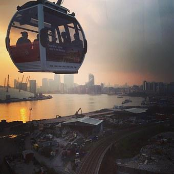London, Cable Car, England, London Skyline, River