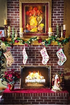 Christmas Fireplace, Fire In Fireplace, Fireplace