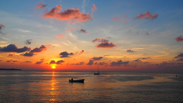 Sunset, Fishermen, Fishing, Sea, Ocean, Fisherman