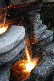 Fountain, Waterfall, Water, Light, Flow, Splash, Rock