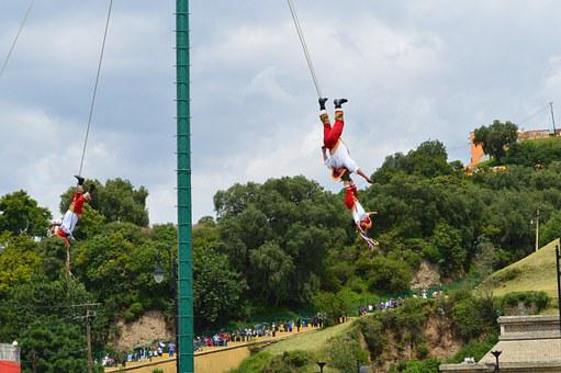 Flying, Papantla, Cholula, Puebla, Mexico