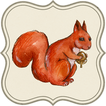 Tag, Label, Acorn, Animal, Squirrel, Drawing