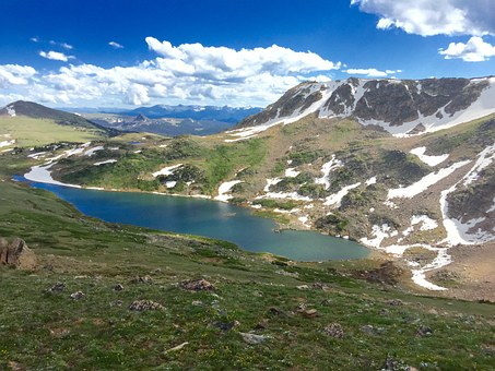 Lake, Mountains, Snowpack, Bear Tooth Pass, Nature