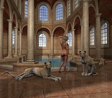 Masonry, Inside, Bath Spa, Woman, Naked, Big Cats