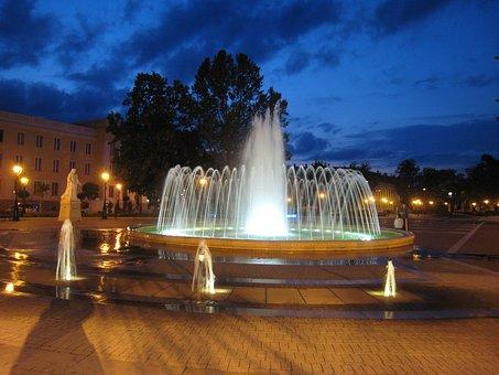 Fountain, Nagykanizsa, Night Lights
