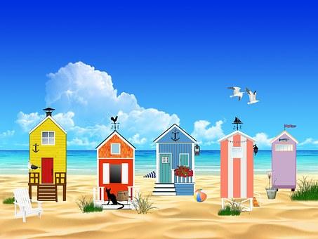 Beach, Ocean, Sea, Sand, Sun, Landscape, Huts, Fishing