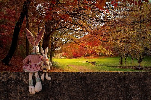Rabbits, Wall, Autumn, Colorful, Toy Rabbits, Trees