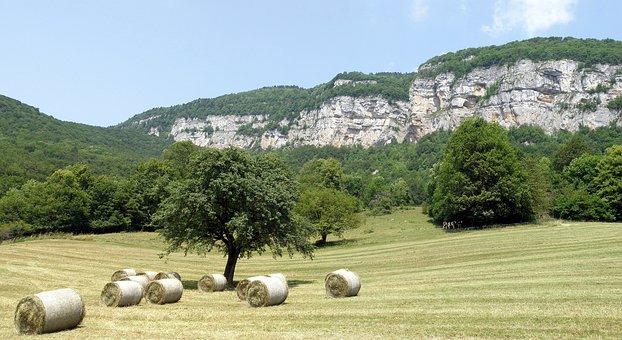 Allèves, Haute-savoie, France, Field, Hay, Bales, Rocks