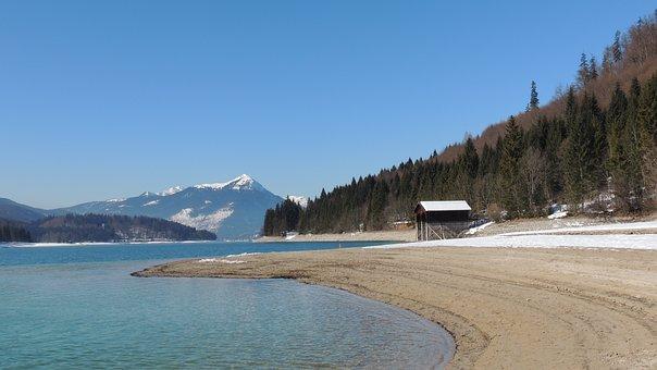 Walchensee, Lake, Water, Nature, Mountain, Rocks