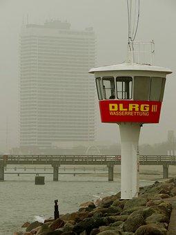 Fog, Watchtower, Warnemünde, Baltic Sea, Coast, Tower