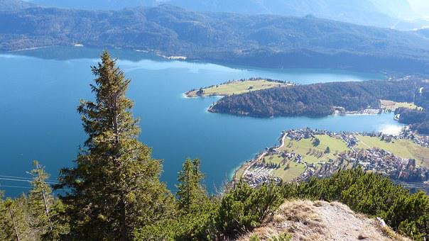 Alpine, Mountains, Sun, Blue, Lake, Walchensee, Water