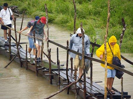 Tourists, Amazonas River, Walkway, Wet, Rainy, Weather