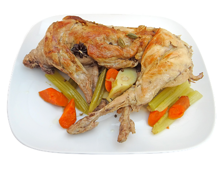 Rabbit, Whole, Cooked, Dinner, Food, Meal, Cooking, Png