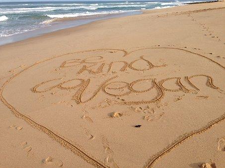 Beach, Sand, Writing, Vegan