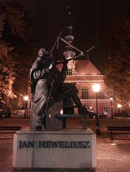 Johannes Hevelius, Gdańsk, Monument, Night, City
