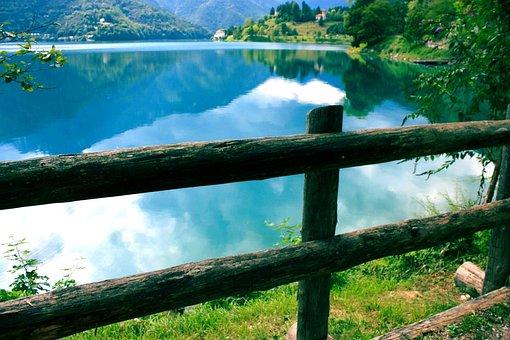 Water, Lake, Ledro, Italy, Wood, Railing, Grass, Nature