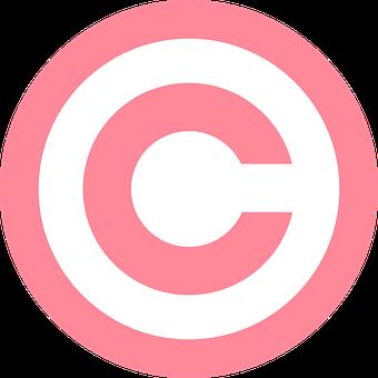 Copyright, Symbol, Pink, Circled, Sign, Capital, Letter