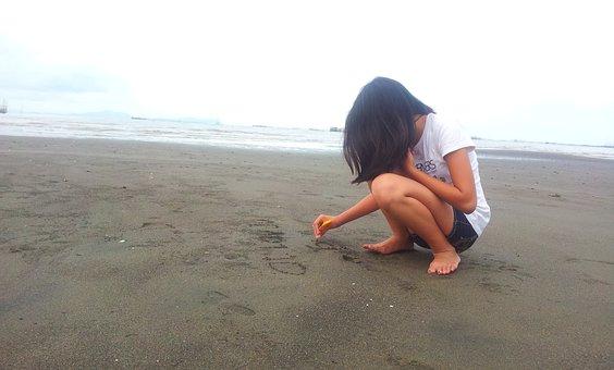 Girl, Sea, Beach, Sand, Summer, Seascape, Nature, Water