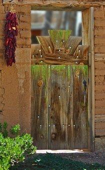 Door, Wood, Architecture, Doorway, Spanish, New Mexico