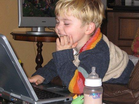 Child, Boy, Milk, Notebook, Computer, Fun, Laptop, Pc