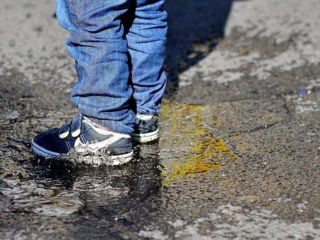 Children's Feet, Puddle, Splash, Fun, Play, Wet, Frozen
