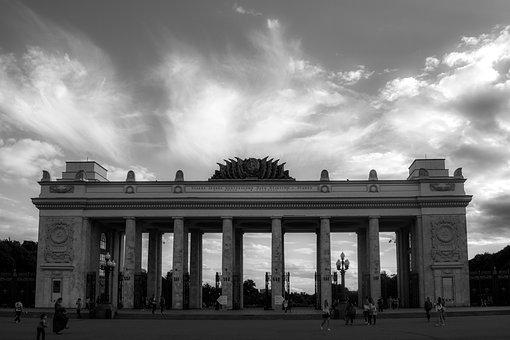 Arch, Sky, Clouds, Gorky Park, Black And White, Columns