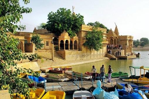 India, Rajastan, Lake, Gadisar, Temple
